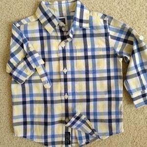 janie and jack roll sleeve dress shirt check